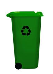 Green wheely aka wheelie bin, isolated over white