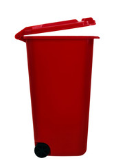 Wheely aka wheelie bin, red, isolated over white