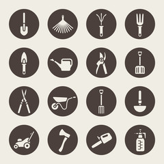 Gardening tools icons set
