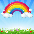 Color Rainbow With Clouds Grass And Flowers - 56687130