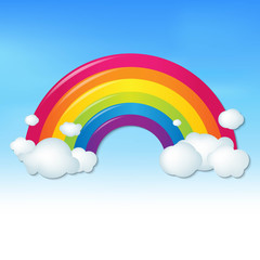 Color Rainbow With Clouds And Blue Sky