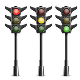 Black Traffic Lights On Pole. Vector Illustration