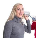 Lachendes Mädchen macht Werbung von Mund zu Mund - Propaganda poster
