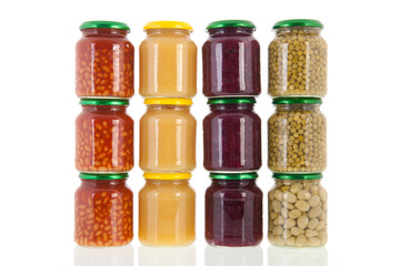 Row pots with canned vegetables