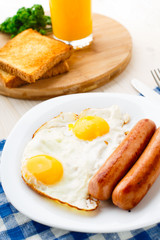 Fried eggs with sausages.