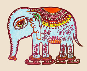 tribal elephant ice skating, ornamental marker drawing