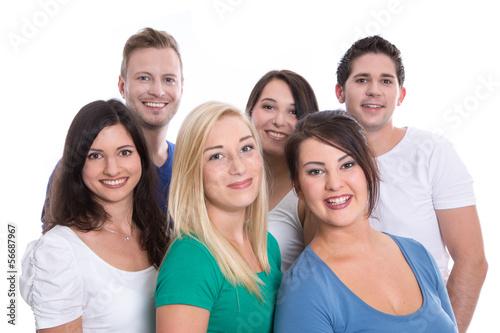 Teamwork - Studenten - Gruppe junge Leute isoliert und lachend