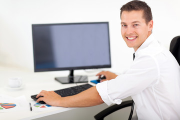 businessman working on a computer in office