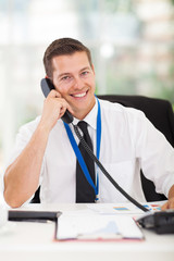 businessman talking on phone in the office