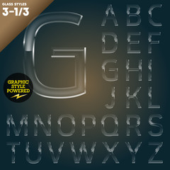 Vector illustration of Glass font powered graphic styles.