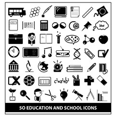 School and Education Icons Set, Vector