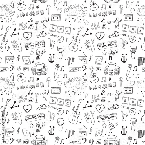 Music symbols. Seamless pattern