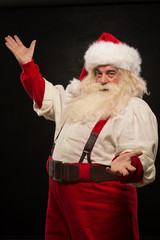 Santa Claus portrait expressing gesturing and presenting