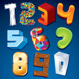 Numeral in Various Styles. Vector Design Elements