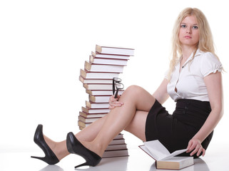 Beautiful young woman with books white background