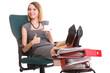 Woman work stoppage businesswoman relaxing legs up plenty of doc