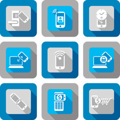 Smart phone with Near Field Communication Icon design set