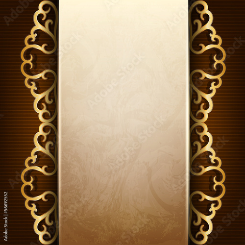 Vintage frame with gold ornament, the idea for the menu