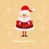 Santa Claus with Christmas candy cane card
