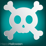 Skull concave Halloween card in vector format