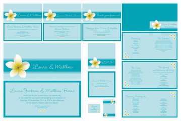 Frangipani beach theme wedding stationery set in vector format.