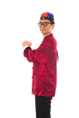 Asian man with Chinese traditional dress cheongsam and gong xi f