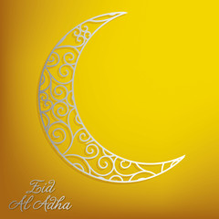 Filigree lace moon Eid al Adha card in vector format.