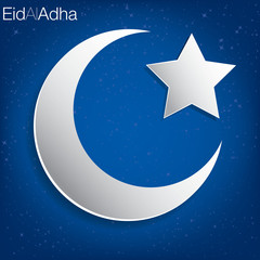 Concave moon and star Eid al Adha card in vector format.