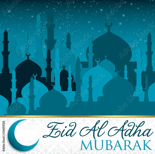 City of Mosque Eid al Adha card in vector format.