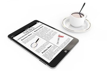 Morning news concept. Modern Tablet pc and cup of coffee