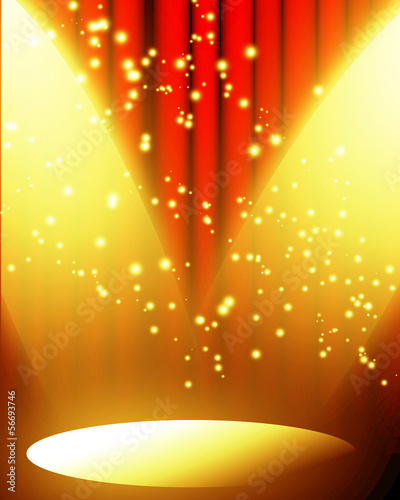 red curtain with spotlight