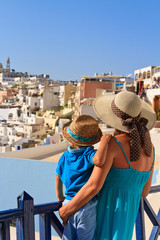 family on vacation in Greece