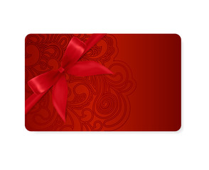 Gift coupon, Gift  card, Ticket. Red filigree pattern, bow