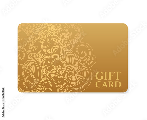 Gift coupon, Gift / discount card, Ticket. Gold floral pattern