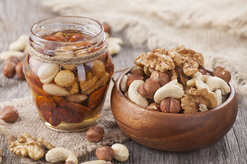 Honey and mixed nuts