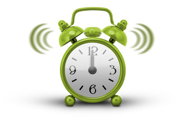 Green Alarm Clock - white background