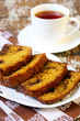 Slices of pumpkin chocolate chip loaf