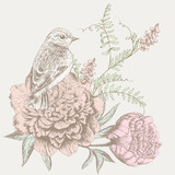 flower background with bird