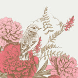 background  with bird and flower