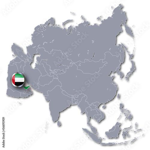 Asienkarte mit Vereinigte Arabische Emirate
