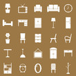 Furniture icons on brown background