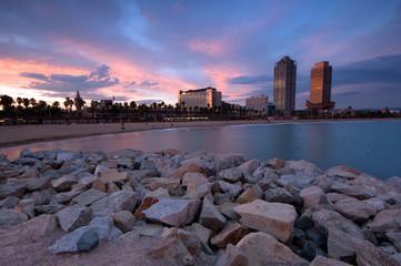 Coastline of Barcelona, Spain