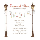 Invitation with lantern and hanging hearts with place for text