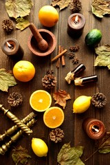 Citrus fruits with aromatherapy supplies