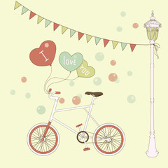 Cute card with balloons and bicycle for valentine's day.