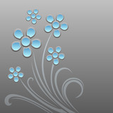 Abstract background with blue flowers. Vector illustration.