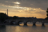 Pont Neuf and Eiffel tower, Paris, Ile de France, France