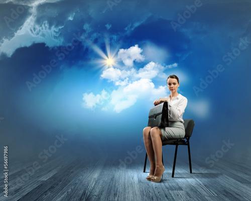 Businesswoman  on chair