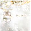 light Christmas background with light evening ball