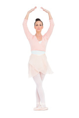 Concentrated gorgeous ballerina standing in a pose